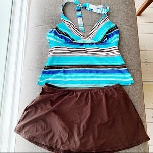 Halter Two Piece Skirt Swimsuit NWT